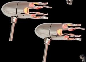Bullet Lights, LED, Small Flame bezel, Chrome Body