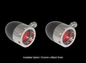 Bullet Lights, Small Flat Bezel w/Holes, Black and Chrome Body, Amber Lens