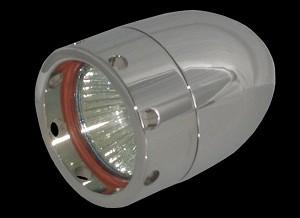 Bullet Lights, LED, Small Flat Bezel w/Holes, Chrome Body