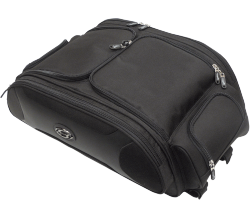 "A sharp collection of motorcycle luggage from Saddlemen; the FTB line features a bold, yet sporty look with an array of vital features bundled with superb construction and class-leading value pricing This trunk and rack bag mounts in moments without fuss, using rugged nylon straps and clips attached directly to the body of the bag Brings never-before-seen style to the top of your touring bike's trunk, trunk rack or large rear rack Semi-rigid walls, specially contoured for style and load capacity, hold their shape regardless of your cargo Gull-wing top flaps have perimeter zippers that open wide for easy loading and unpacking If the weather gets wet, use the supplied high-visibility, light-reflective rain cover to protect the bag and its contents FTB3300 dimensions: 221/2"" W x 9"" H x 12"" D (bag excluding pockets) and 26"" W x 9"" H x 15"" D (bag including pockets); capacity 10 lb."