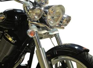 victory motorcycle spotlight v bar chrome black mount driving lights
