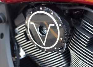 V badge Cheese wedge replacements Pictured Installed on Victory Motorcycle with matching Engine Covers Sold Seperate