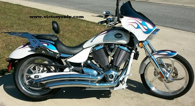 Quick release Rack with Option passenger backrest Installed Victory Motorcycle